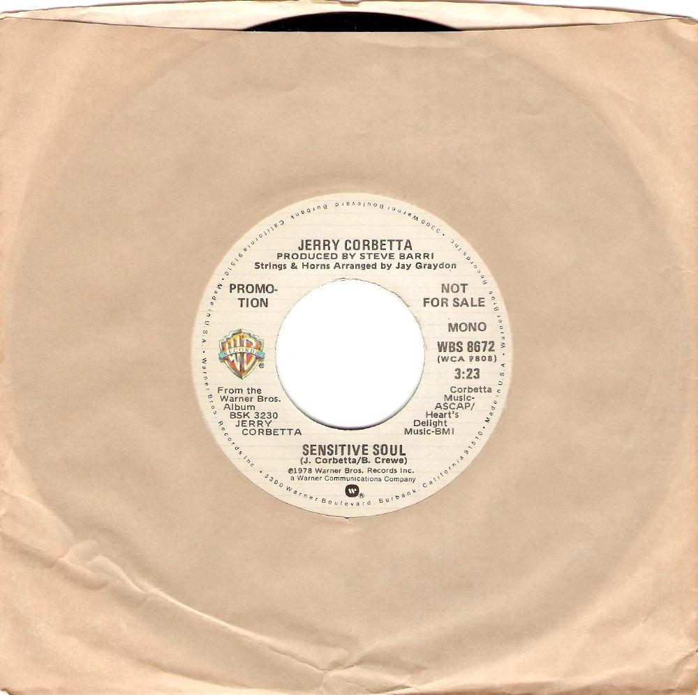 JERRY CORBETTA Sensitive Soul Vinyl Record 7 Inch US Warner Bros  1978 Promo